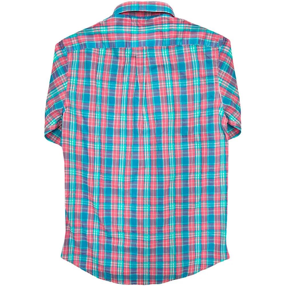 Camisa Feminina Cowboys Manga Longa Xadrez Rosa e Azul