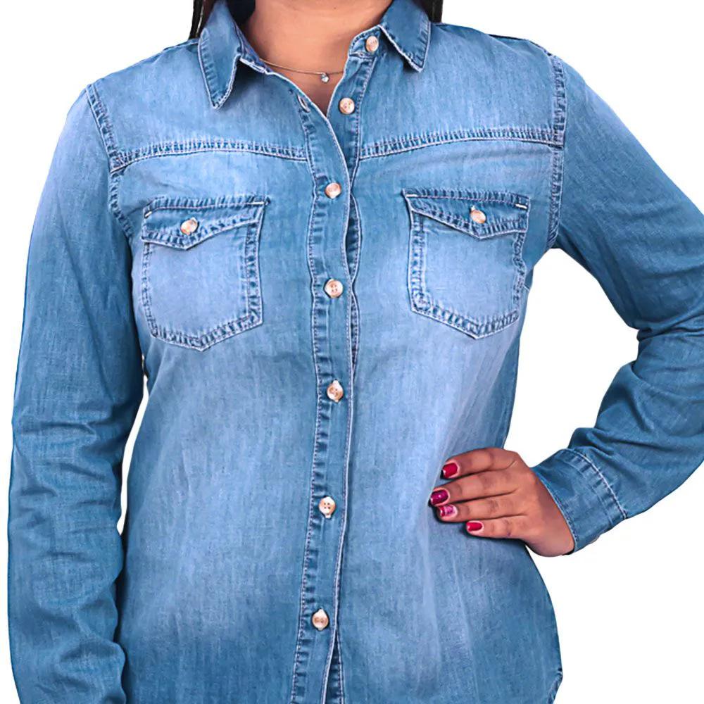 Camisa Feminina Dicollani Manga Longa Jeans