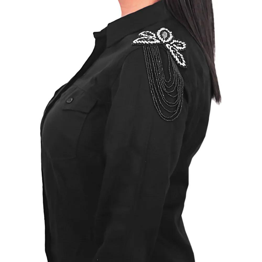 Camisa Feminina Dicollani Manga Longa Preta Aplicação nos Ombros