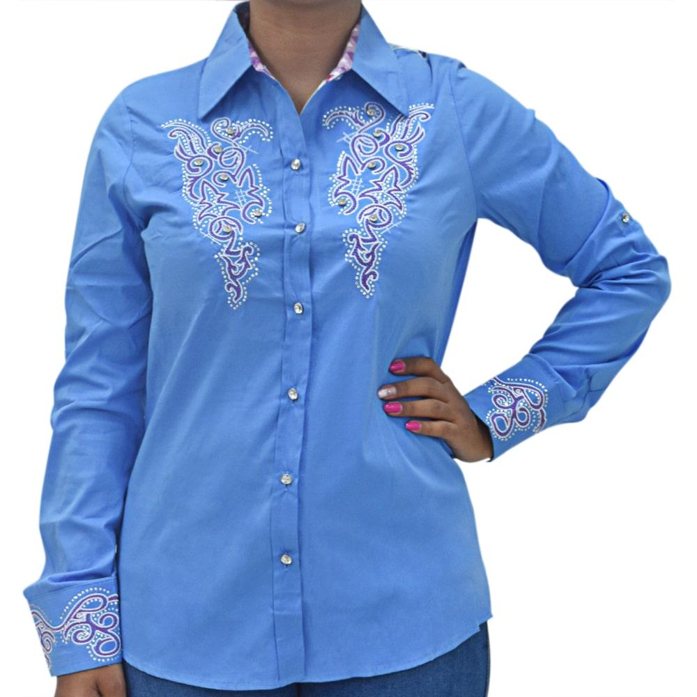 Camisa Feminina Mãe e Filha Lisa Azul com Strass Manga Longa
