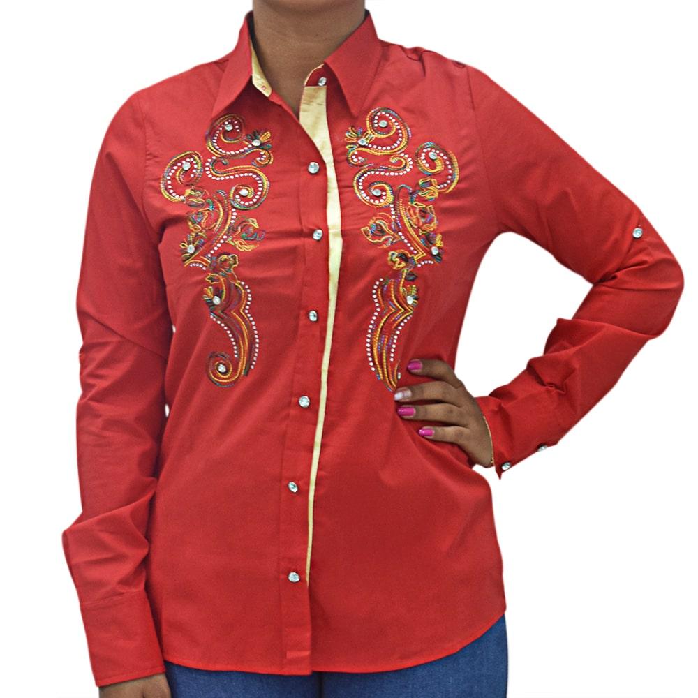 Camisa Feminina Mãe e Filha Lisa Vermelha com Bordado Manga Longa