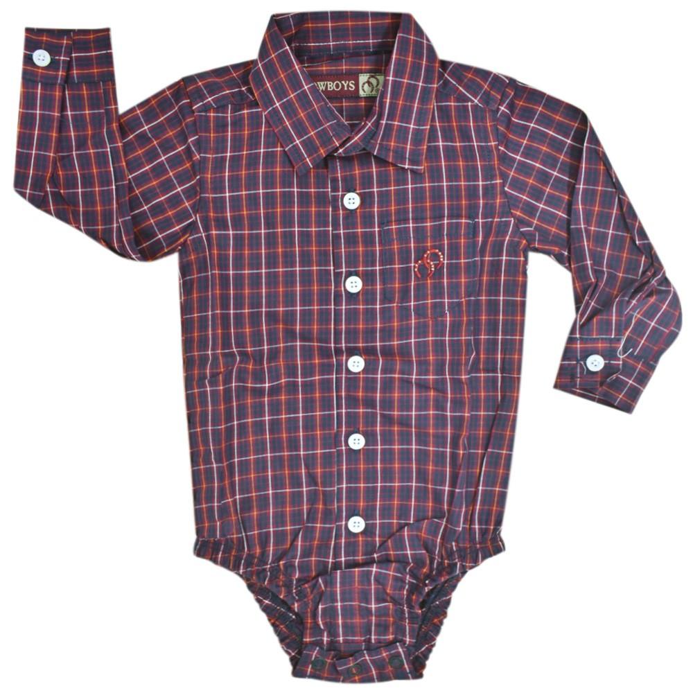 Camisa Feminina Mãe e Filho Xadrez Vermelho, Azul e Branco Cowboys Manga Longa