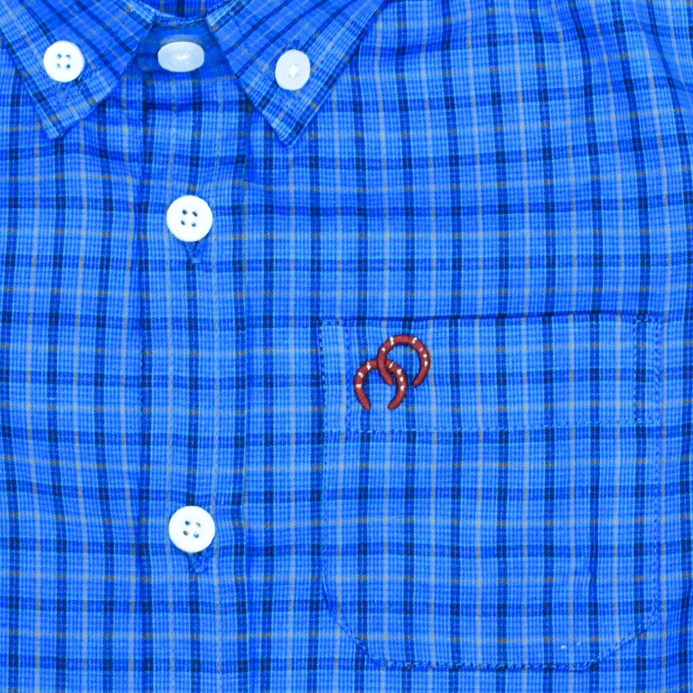 Camisa Infantil Cowboys Manga Longa Pai e Filho Xadrez Azul, Preto e Laranja