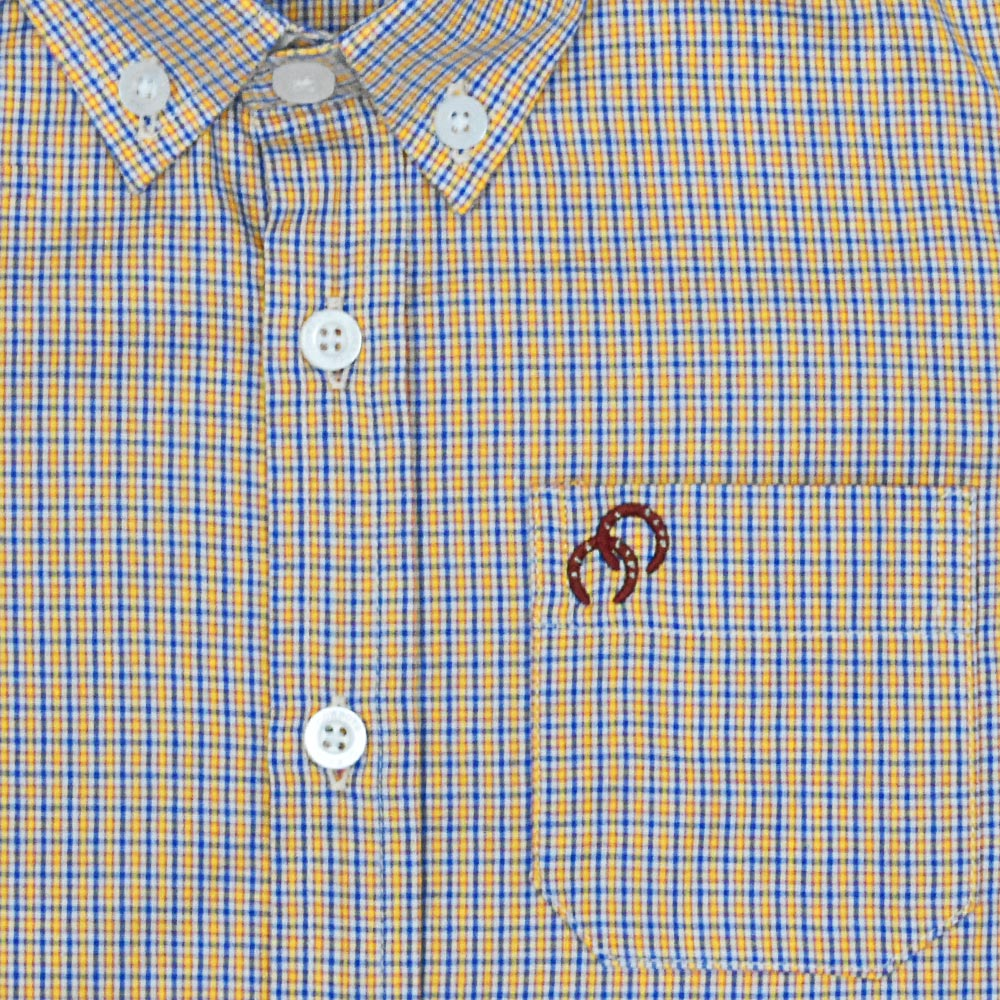 Camisa Infantil Cowboys Manga Longa Pai, Mãe e Filho Xadrez Amarelo, Azul e Branco