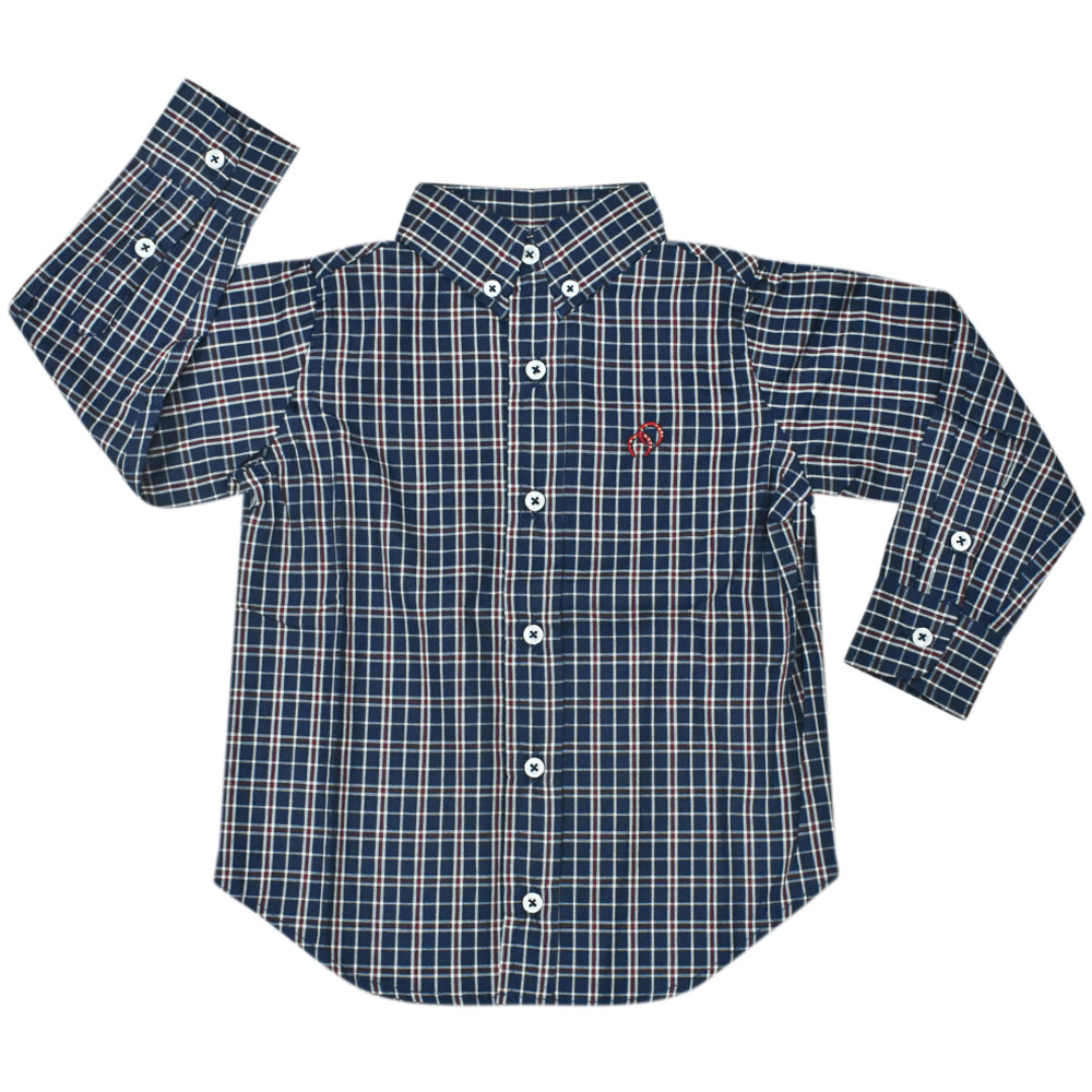 Camisa Infantil Cowboys Manga Longa Xadrez Azul, Vermelha e Branca