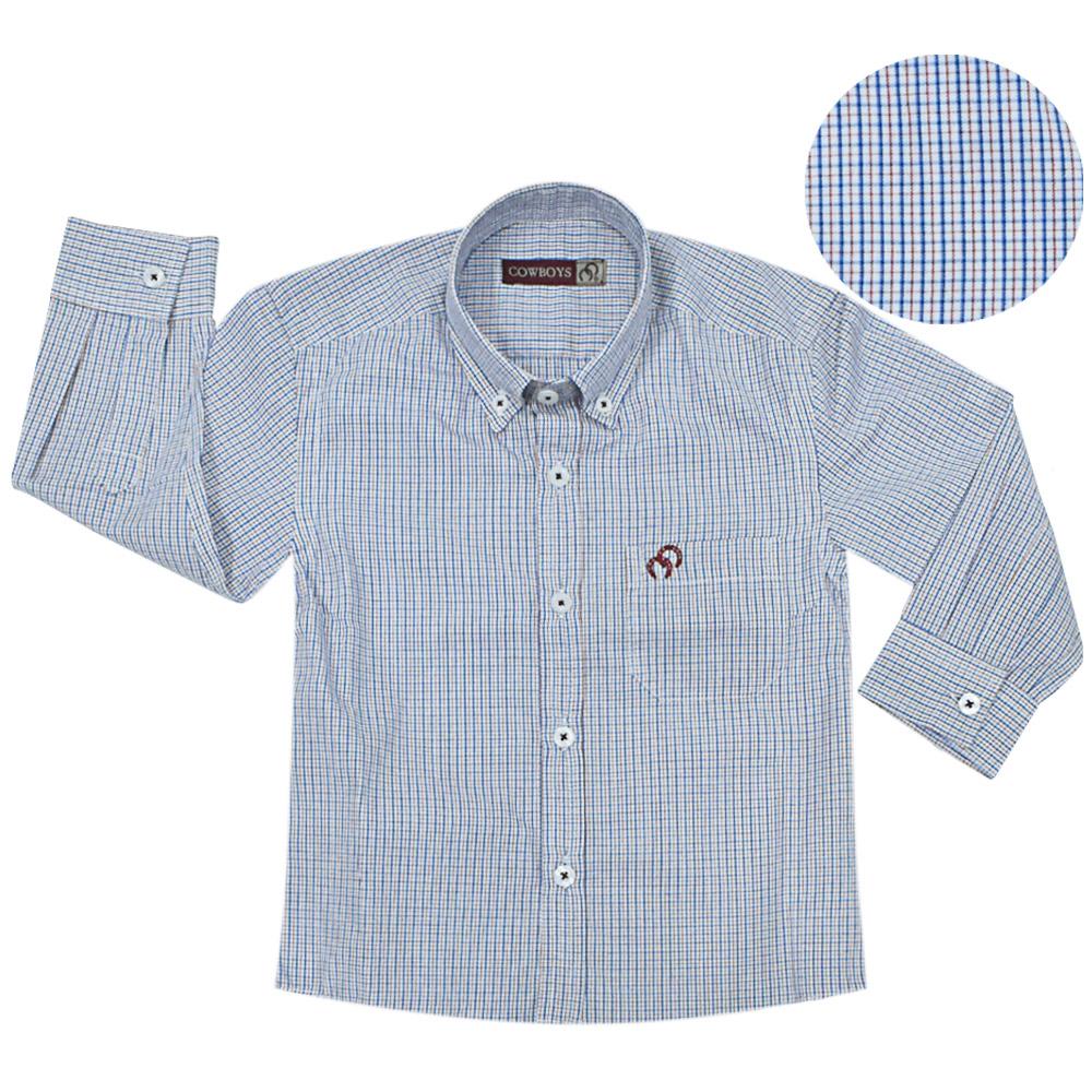Camisa Infantil Cowboys Manga Longa Xadrez Branco, Azul e Vermelho