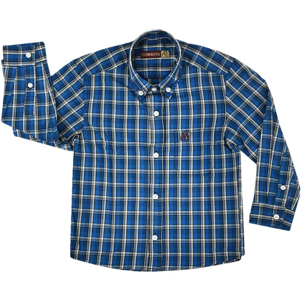 Camisa Infantil Cowboys Pai e Filho Xadrez Azul, Preto e Branco