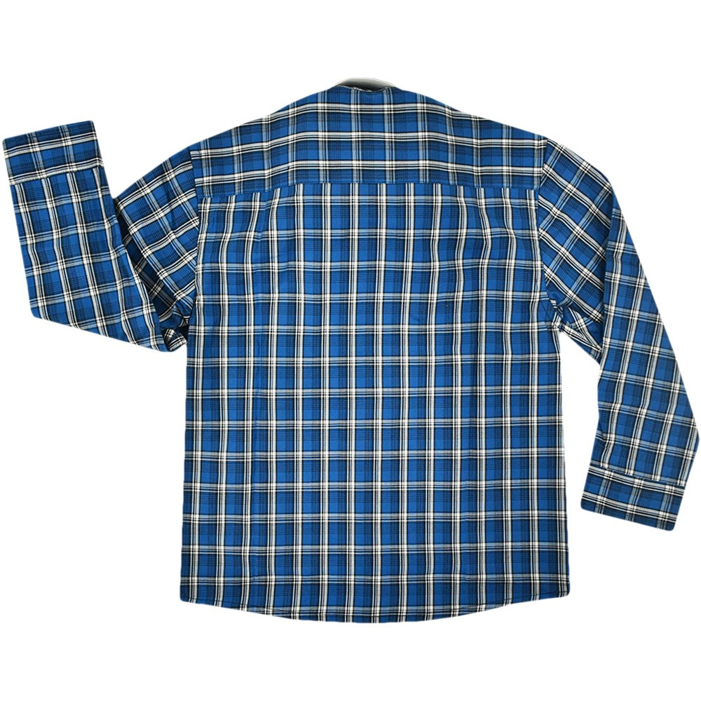 Camisa Infantil Cowboys Manga Longa Pai e Filho Xadrez Azul, Preto e Branco