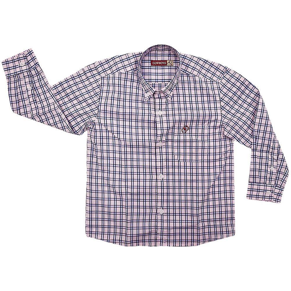 Camisa Infantil Cowboys Xadrez Rosa, Azul e Branco
