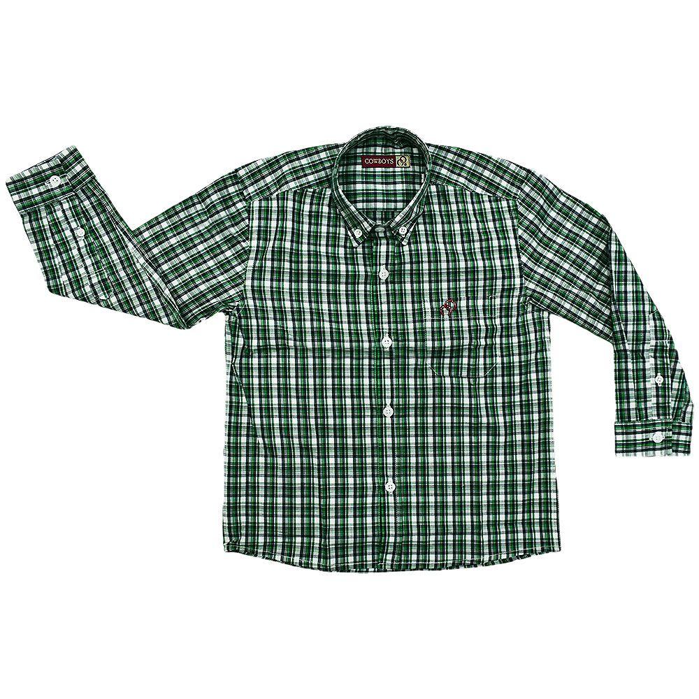 Camisa Infantil Cowboys Manga Longa Pai e Filho Xadrez Verde, Branco e Preto