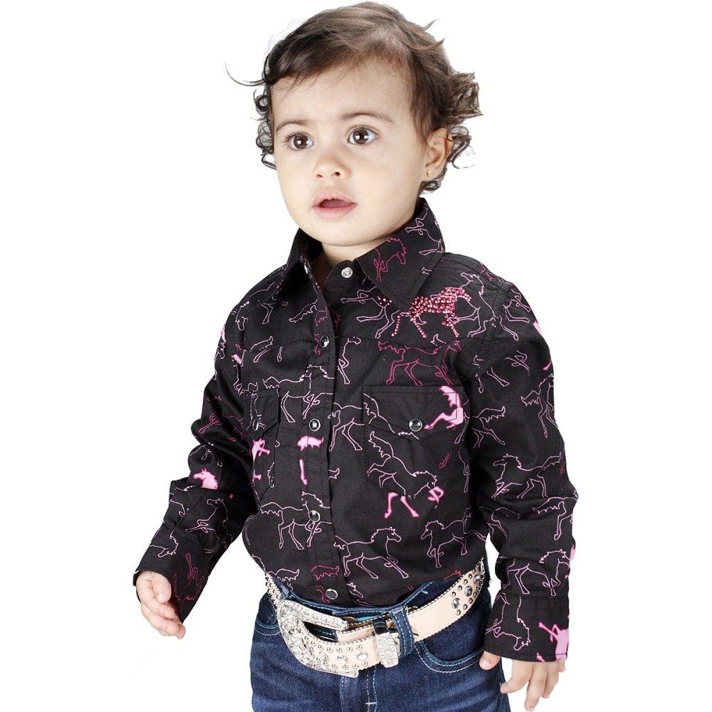 Camisa Infantil Feminina Preta Estampa de Cavalinhos Pink