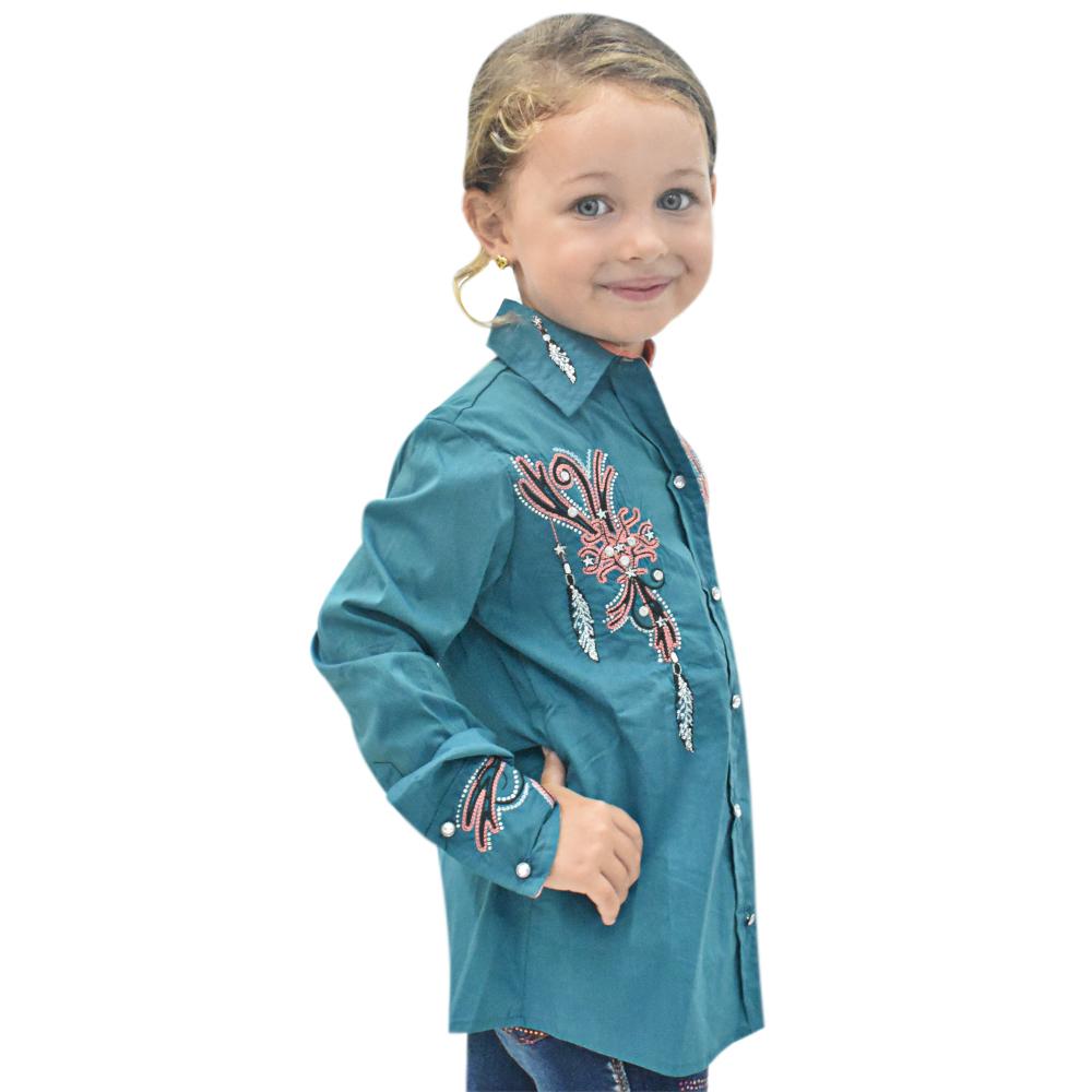 Camisa Infantil Lisa Azul Petróleo com Strass Manga Longa