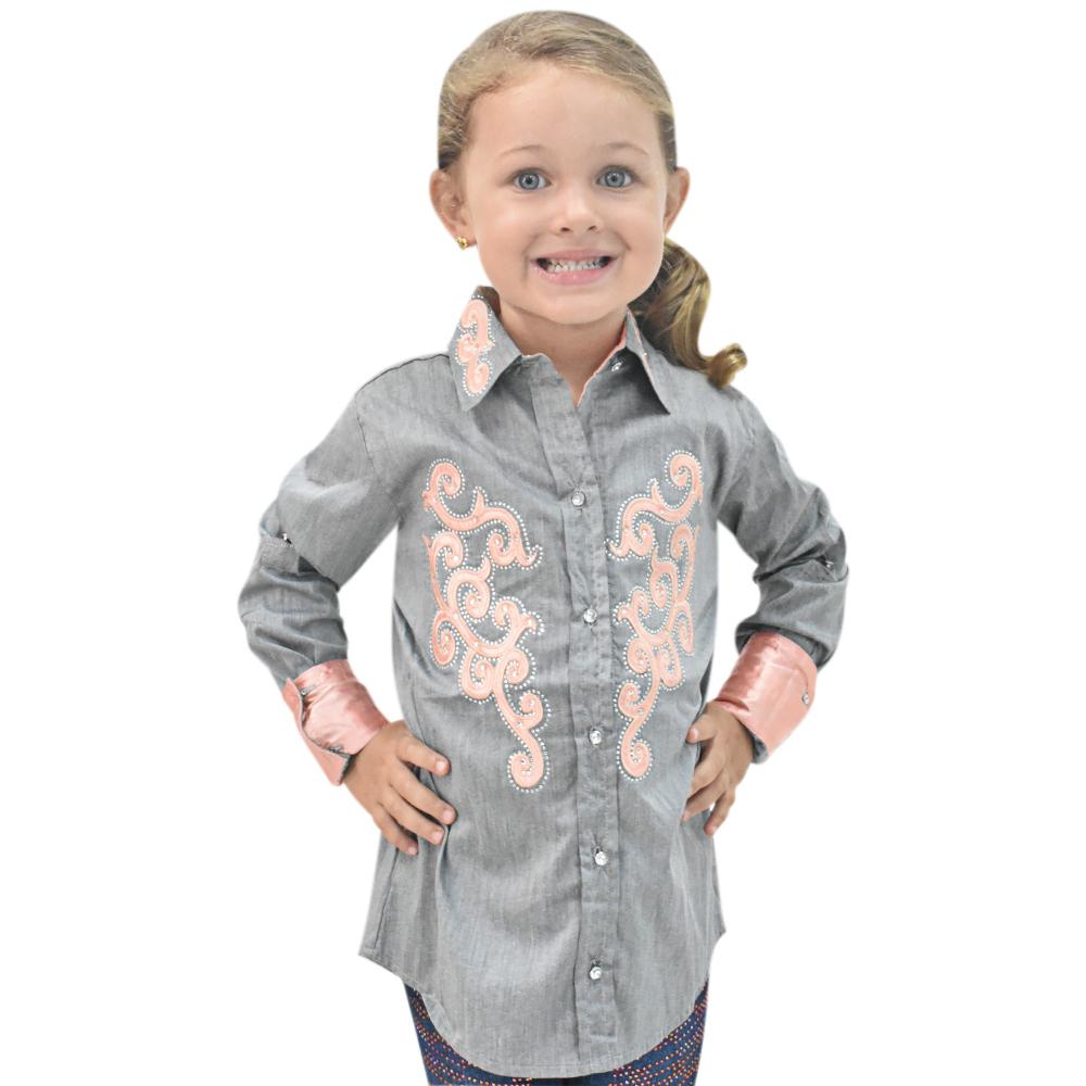 Camisa Infantil Lisa Cinza com Strass Manga Longa