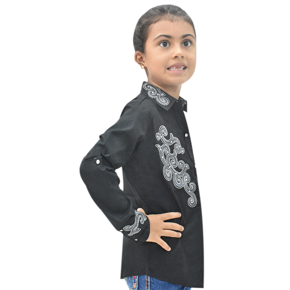 Camisa Infantil Lisa Preta com Strass Manga Longa