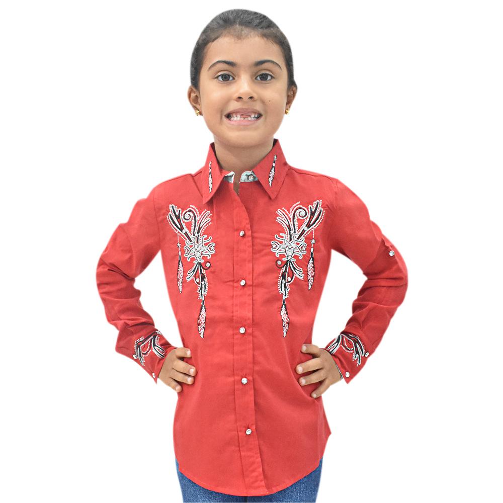 Camisa Infantil Lisa Vermelha com Strass Manga Longa