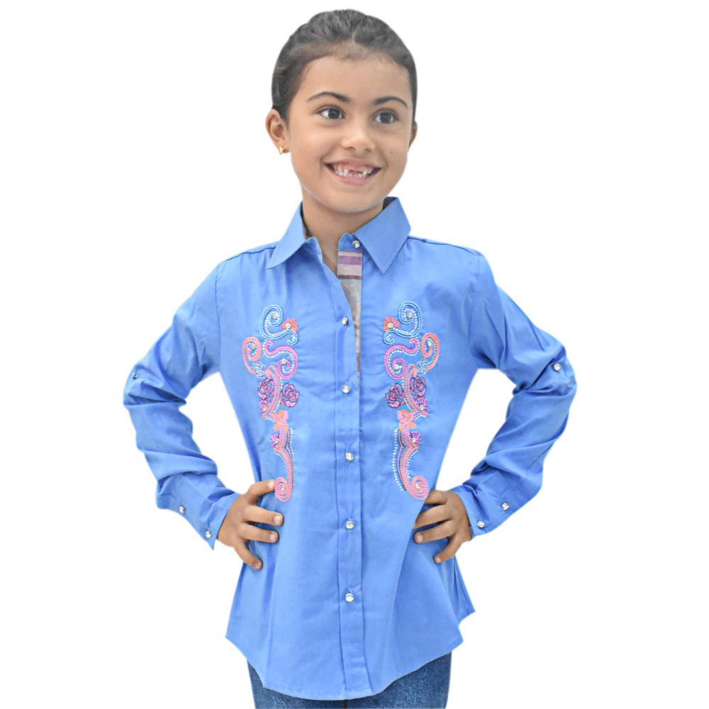 Camisa Infantil Mãe e Filha Lisa Azul com Bordado Manga Longa