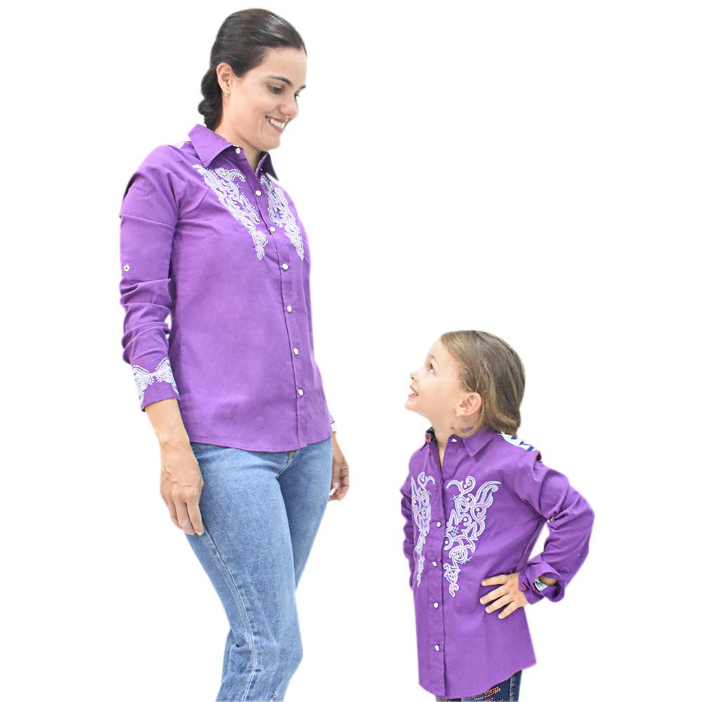 Camisa Infantil Mãe e Filha Lisa Roxa com Bordado Manga Longa
