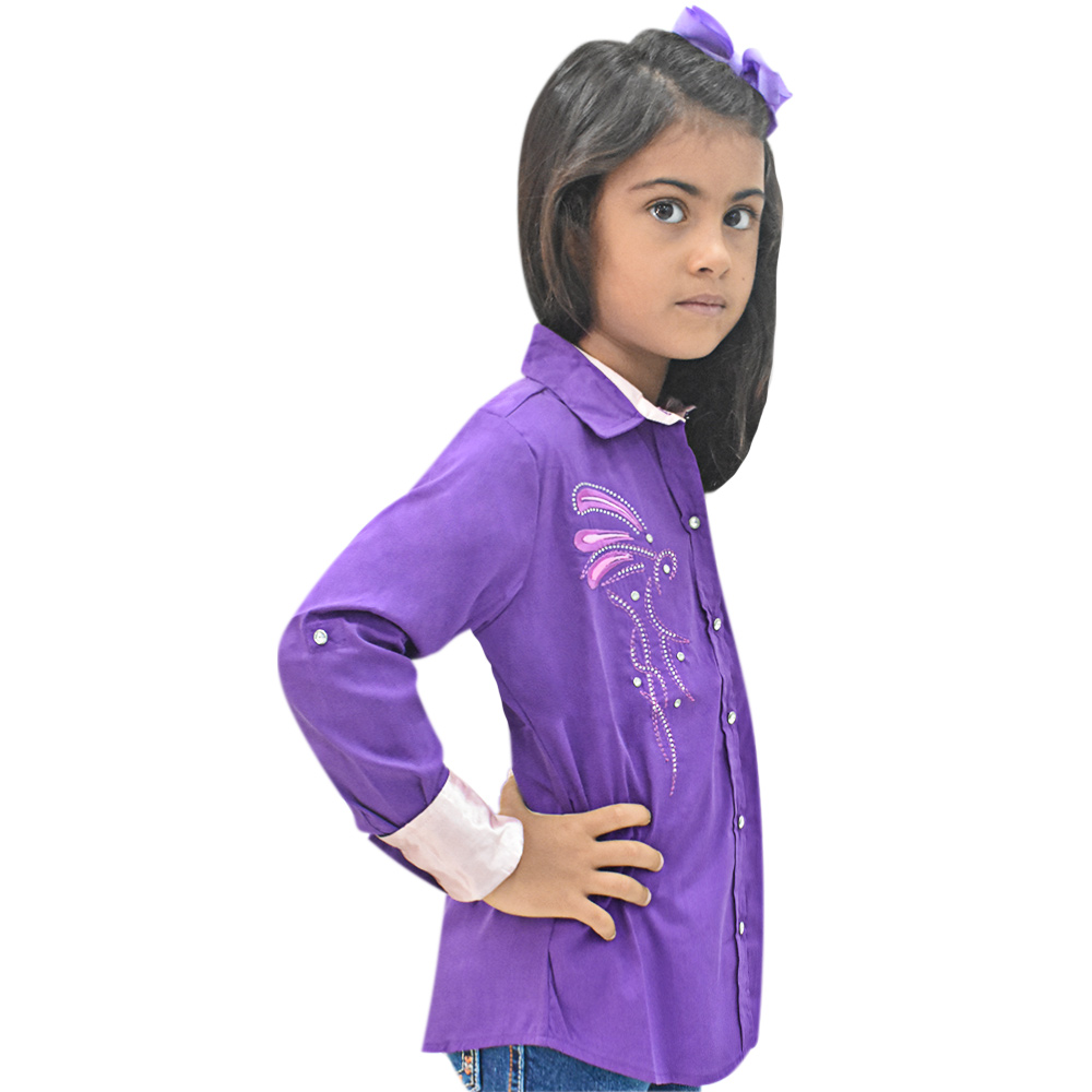 Camisa Infantil Mãe e Filha Lisa Roxa com Strass Manga Longa