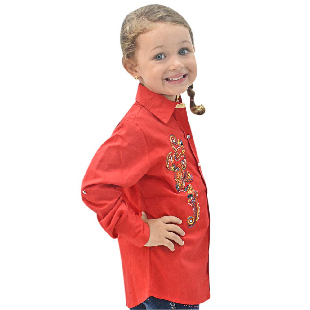Camisa Infantil Mãe e Filha Lisa Vermelha com Bordado Manga Longa