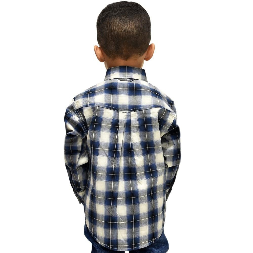 Camisa Infantil Manga Longa Azul Marinho e Cinza Roper