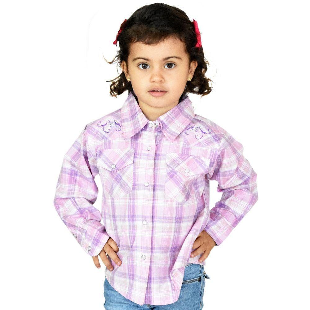 Camisa Infantil Importada Manga Longa Rosa e Lilás