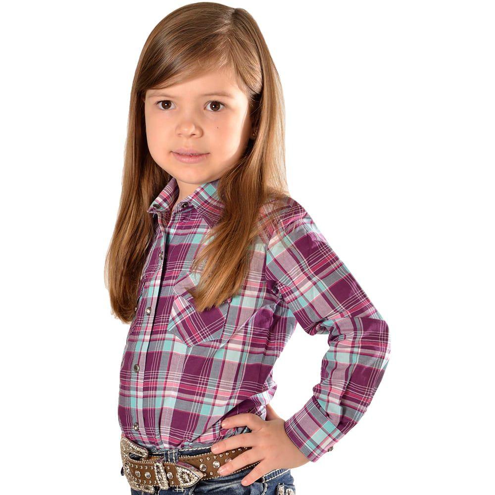 Camisa Infantil Manga Longa Xadrez Turquesa e Roxo