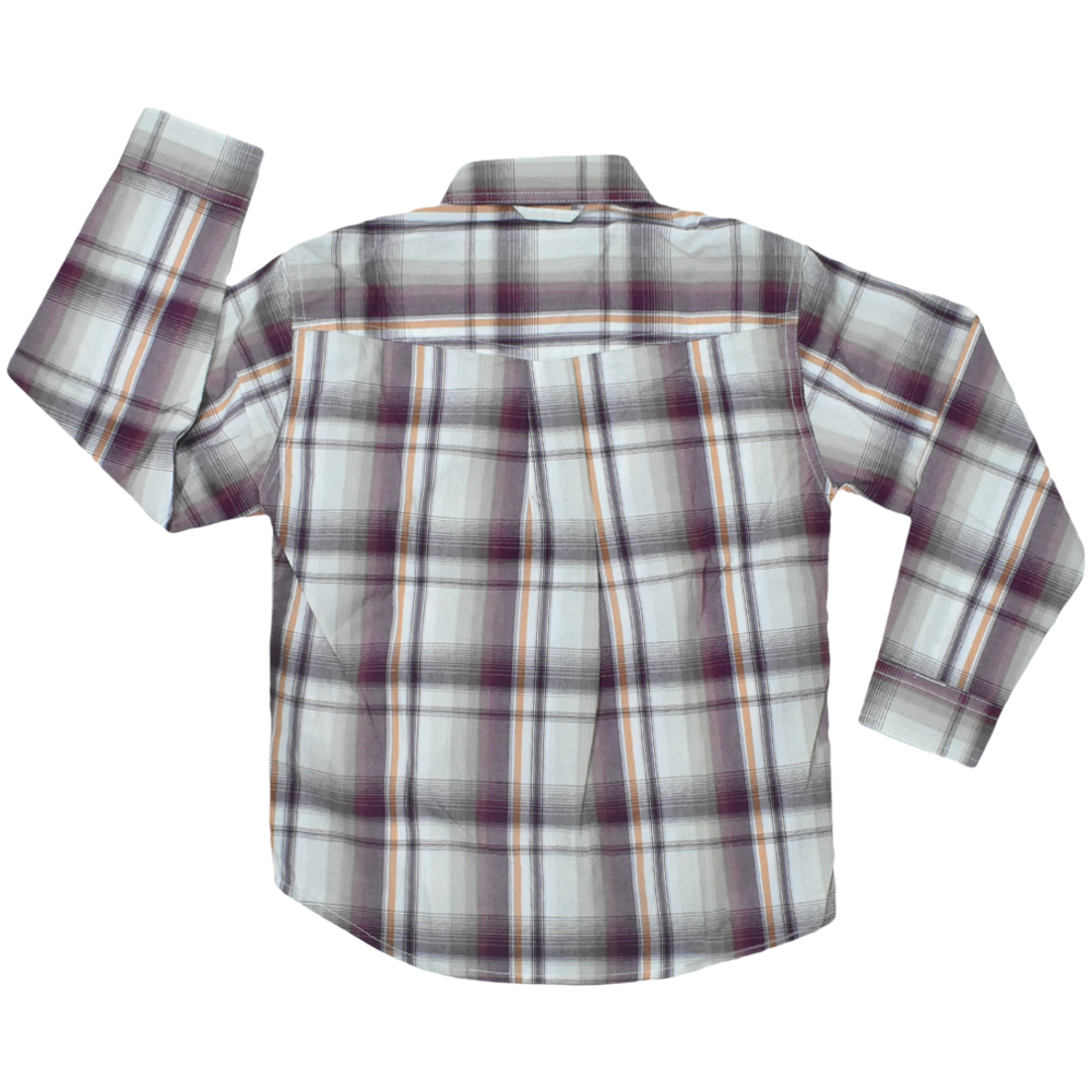 Camisa Infantil manga Longa Xadrez Vinho Laranja Bege Roper