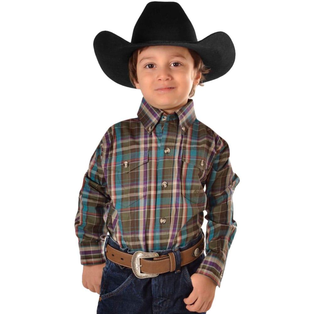 Camisa Infantil Xadrez Fundo Verde Musgo