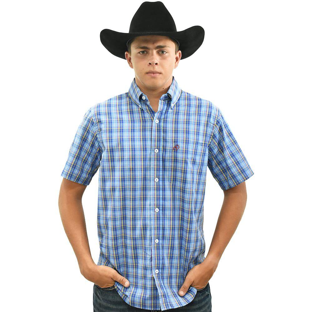 Camisa Cowboys Manga Curta Xadrez Azul, Amarelo e Vermelho