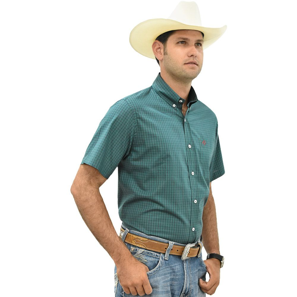 Camisa Masculina Cowboys Manga Curta Xadrez Verde