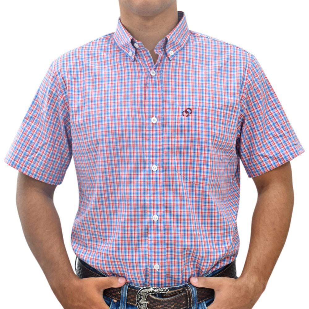 Camisa Cowboys Manga Curta Pai e Filho Xadrez Vermelho, Branco e Azul