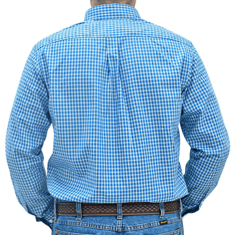 Camisa Masculina Xadrez Azul, Branco e Preto Cowboys Manga Longa