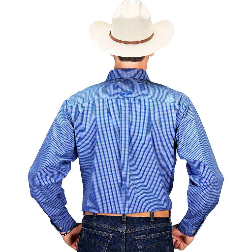 Camisa Masculina Xadrez Azul Design Exclusivo Ariat