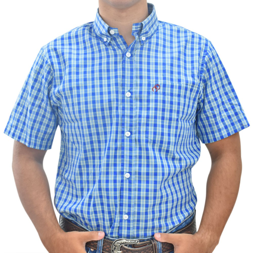 Camisa Cowboys Manga Curta Xadrez Azul, Verde e Branco