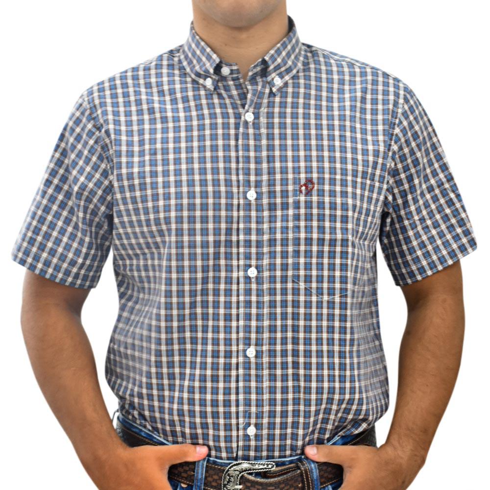 Camisa Cowboys Manga Curta Xadrez Marrom, Azul e Bege