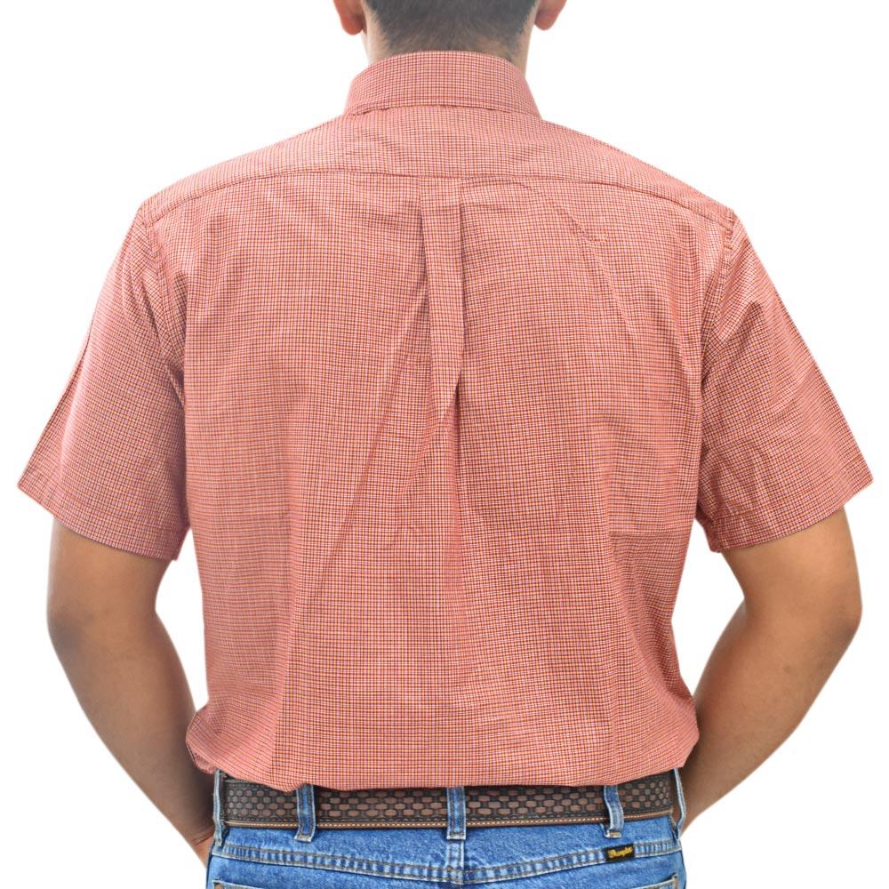 Camisa Masculina Xadrez Vermelho, Branco e Laranja Cowboys Manga Curta