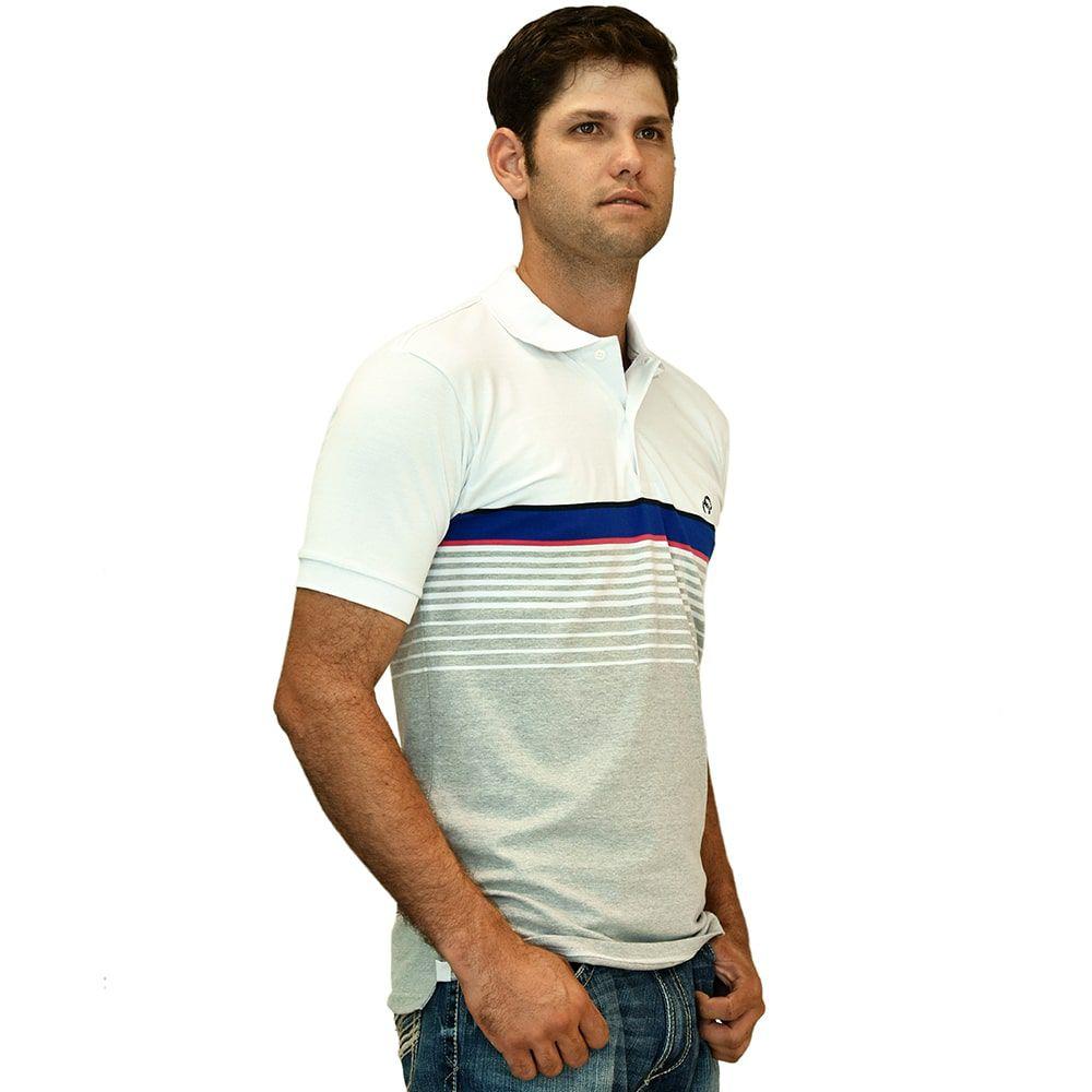 Camisa Polo Cowboys Cinza Branca E Azul