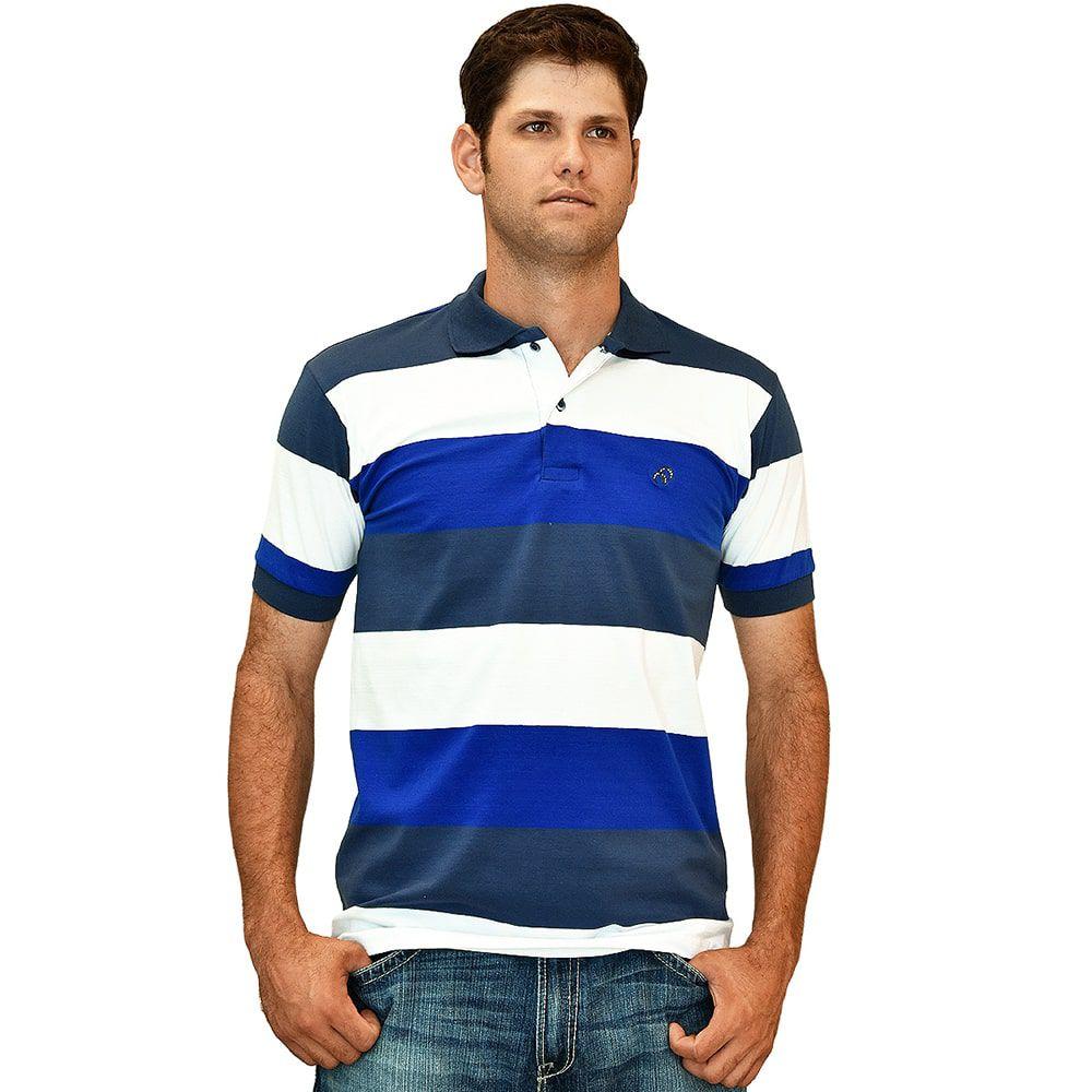 Camisa Polo Cowboys Listrada Azul E Branca - Cowboys ... 7132b0feb7a61