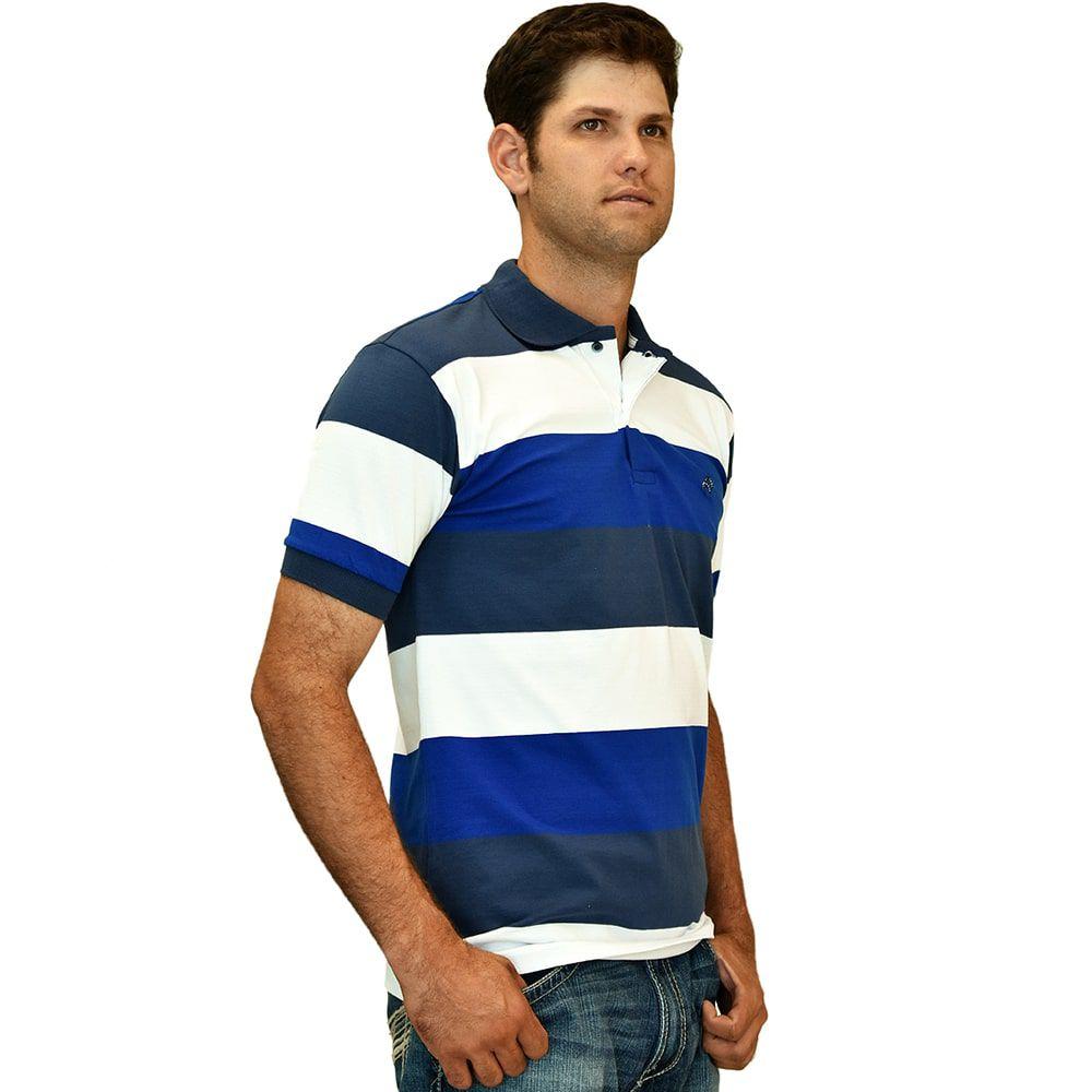 Camisa Polo Cowboys Listrada Azul E Branca