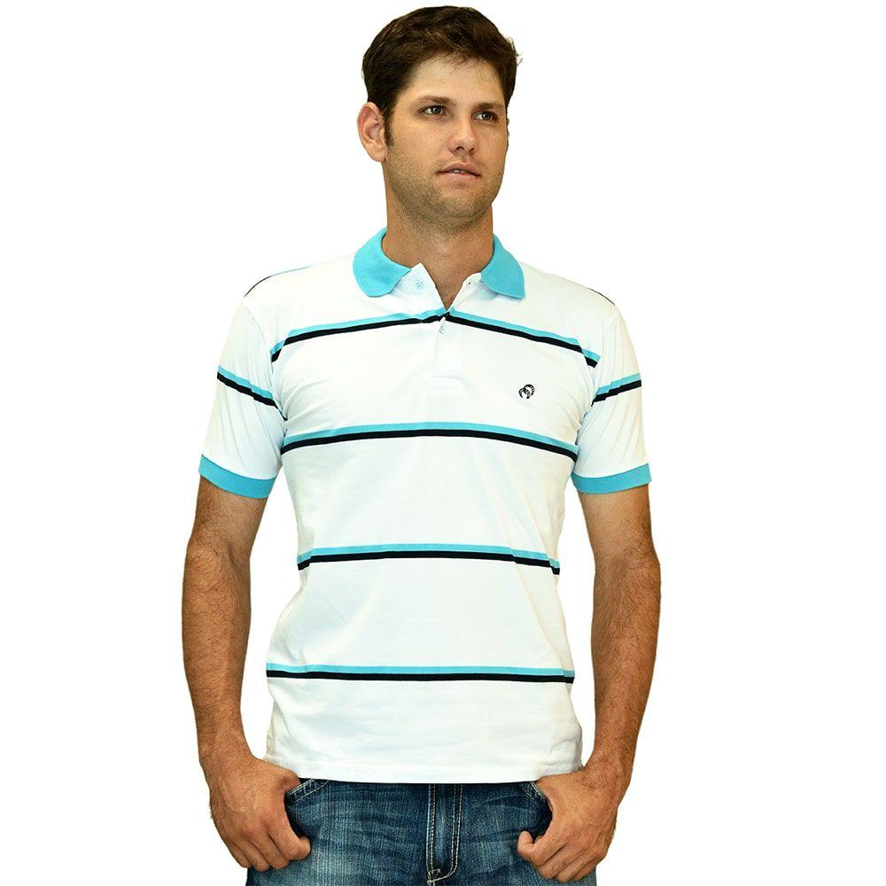 Camisa Polo Cowboys Listrada Branca E Azul