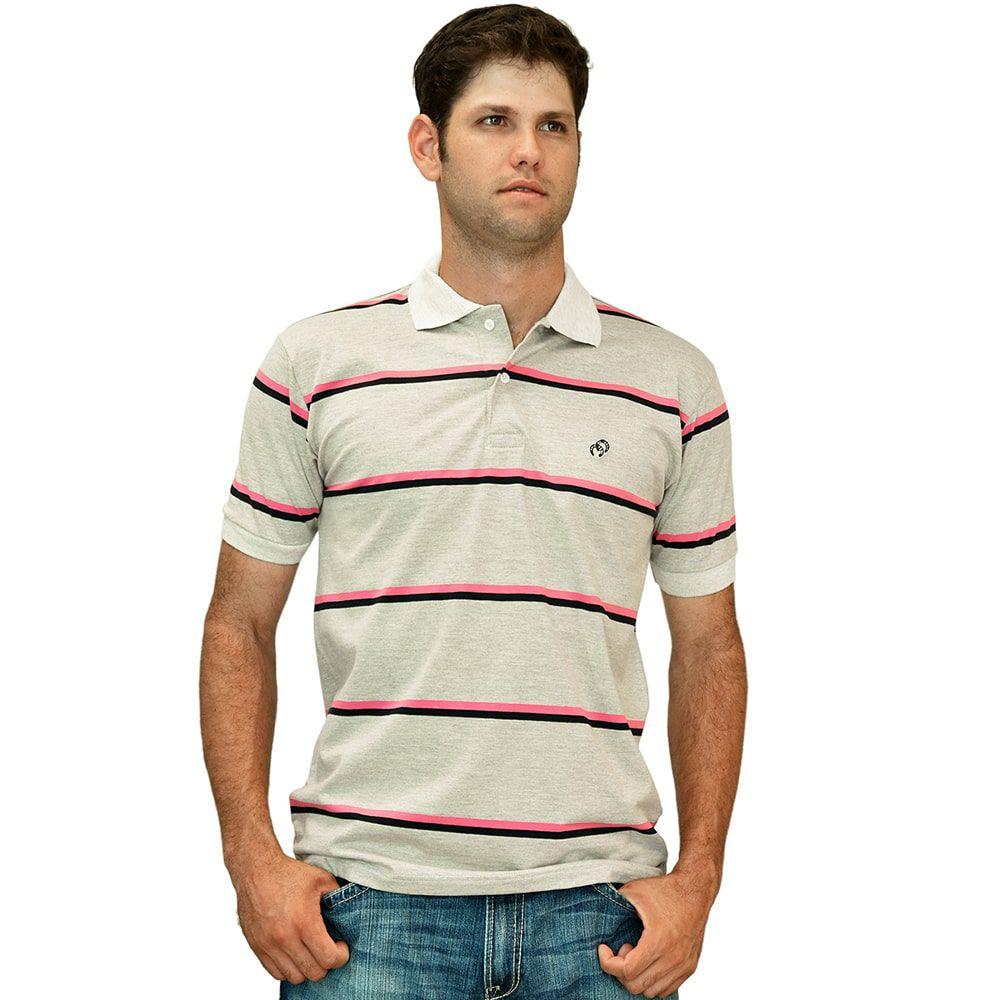 Camisa Polo Cowboys Listrada Rosa E Preto