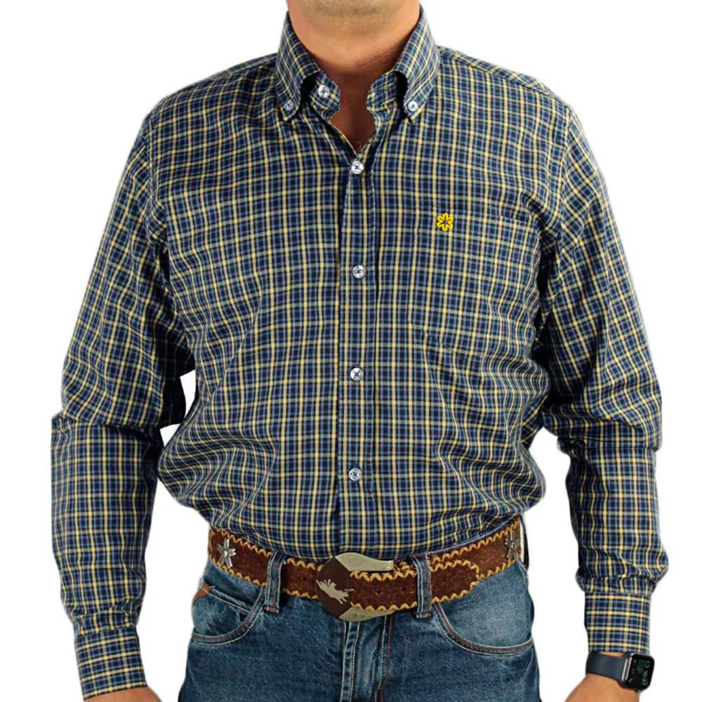 Camisa Tuff Manga Longa Xadrez Chumbo e Amarelo