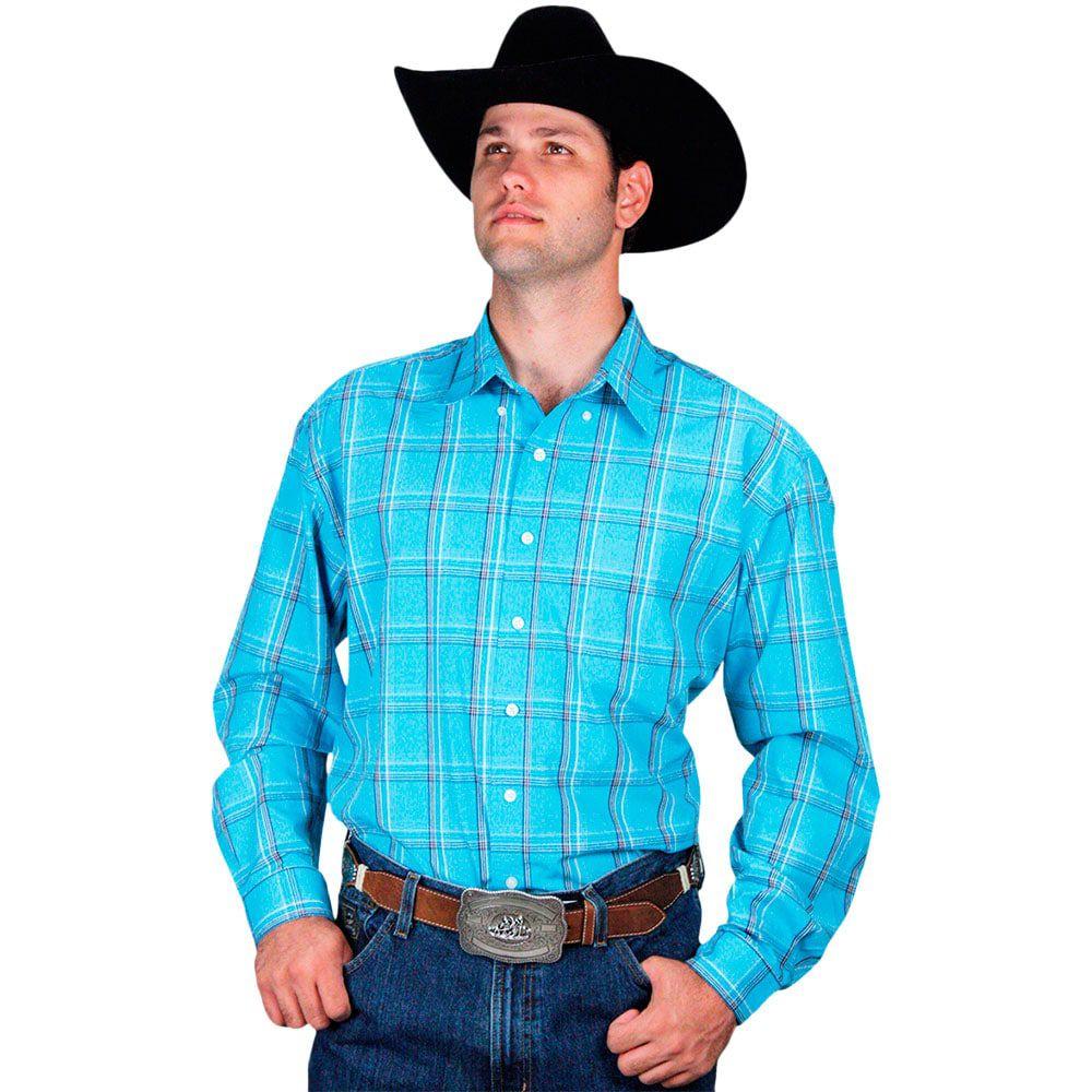 Camisa Xadrez Masculina Country Azul