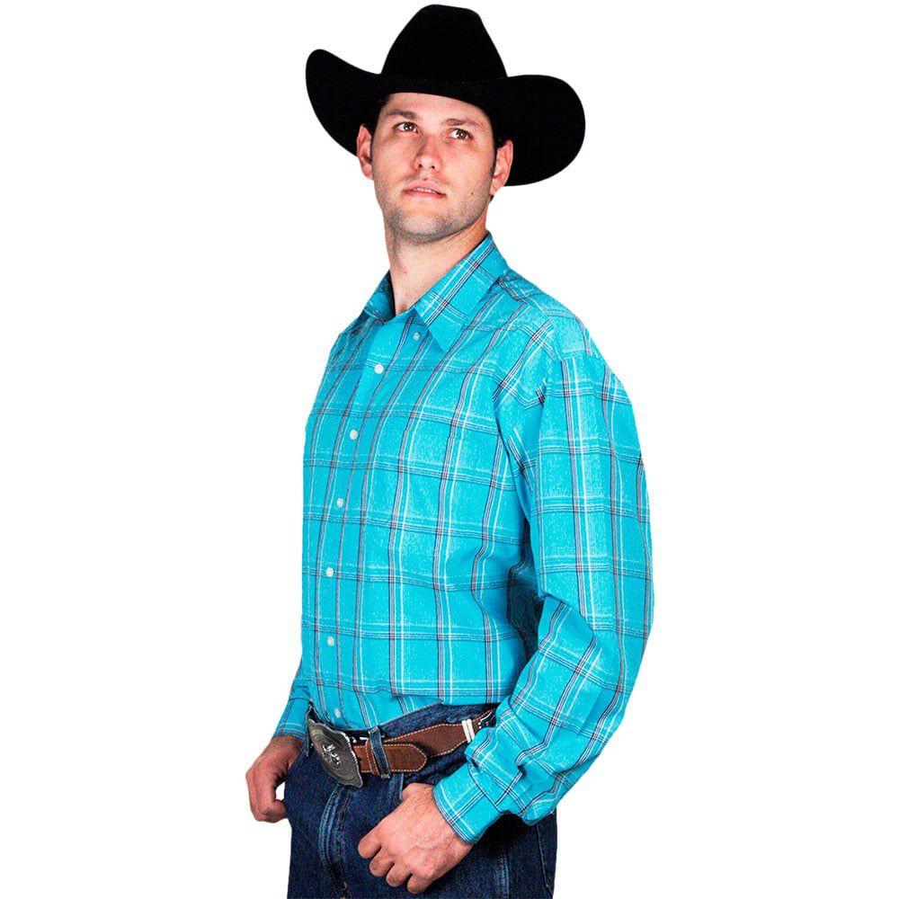 4dee222b1 ... Camisa Xadrez Masculina Country Azul - Cowboys