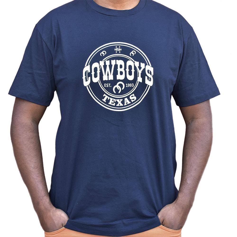 Camiseta Cowboys Azul Marinho Estampa Branca