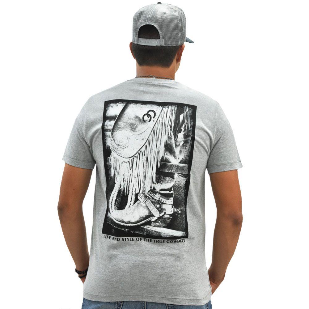 Camiseta Cowboys Cinza Estampa Calça de Couro