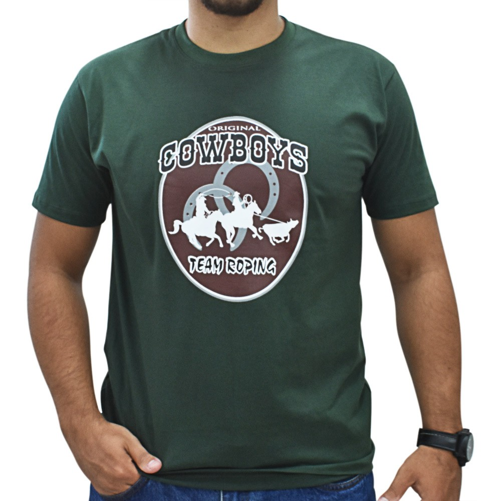 Camiseta Masculina Pai e Filho Cowboys Verde Team Roping