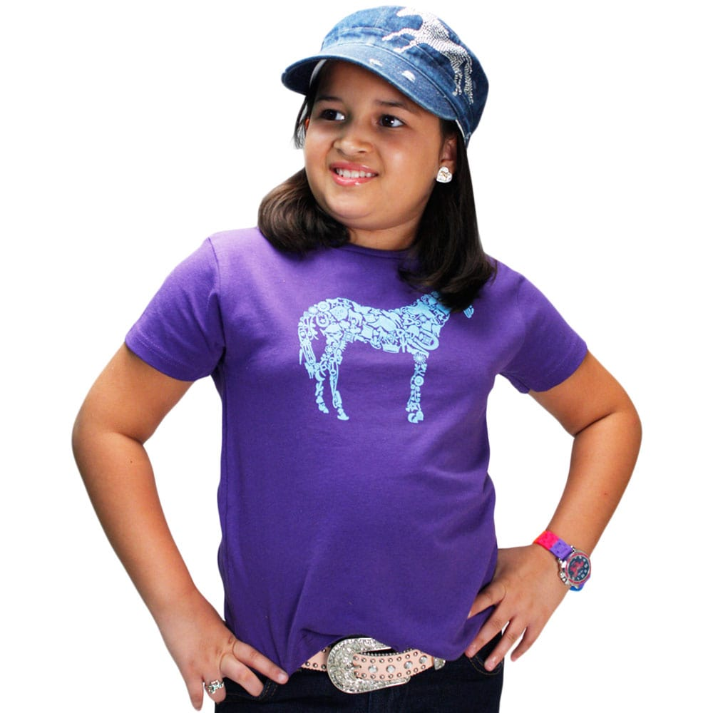 Blusinha Infantil Importada Roxa Cavalo Azul