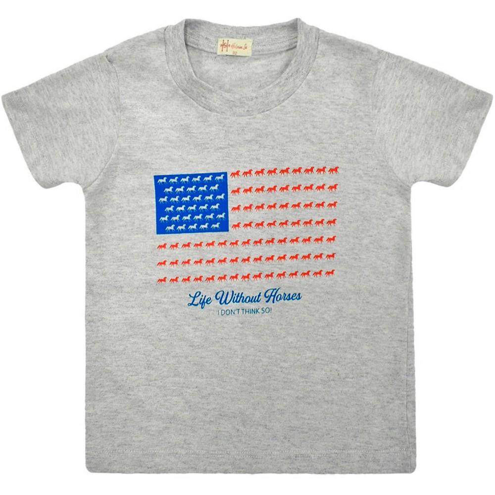 Camiseta Infantil Pai e Filho Cinza Mescla Cowboys Bandeira USA