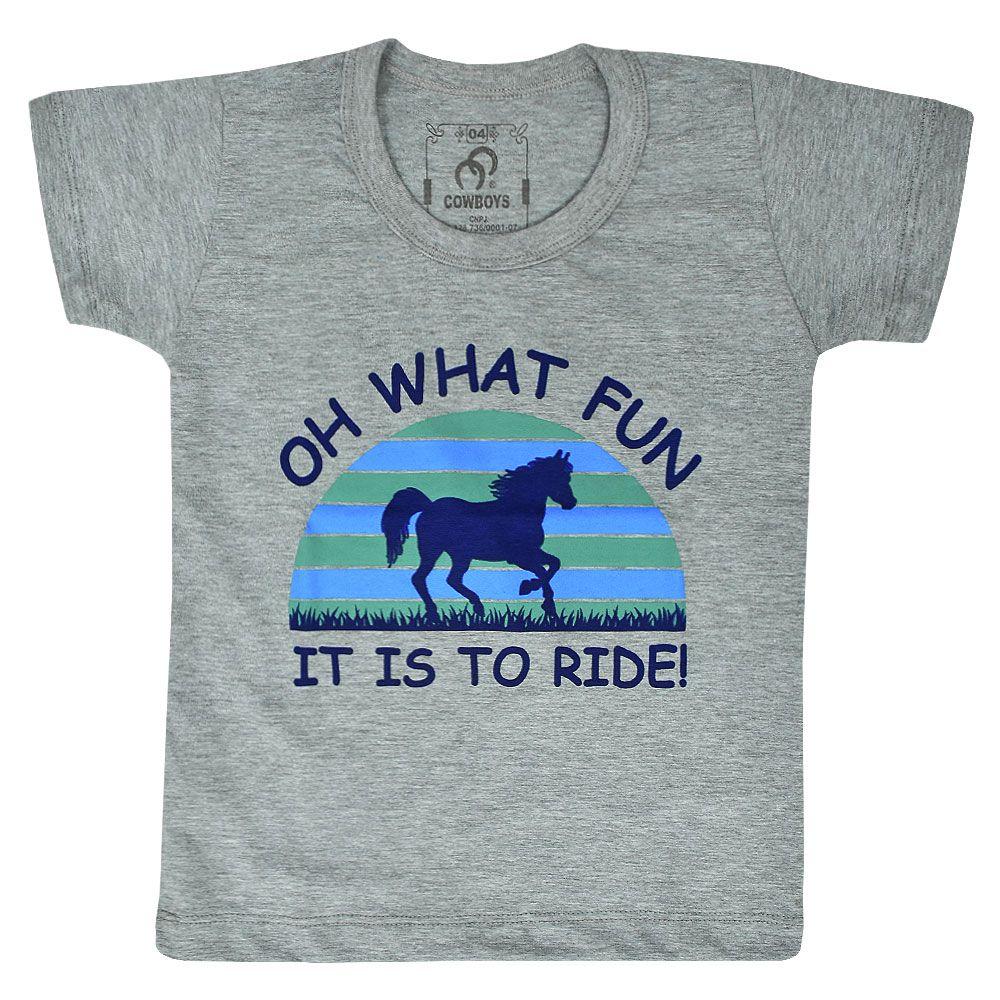 Camiseta Infantil Cowboys Cinza Cavalo Azul